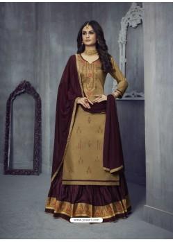 Camel Heavy Embroidered Designer Jam Silk Lehenga Suit