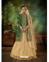 Forest Green Heavy Embroidered Designer Falcan Velvet Suit
