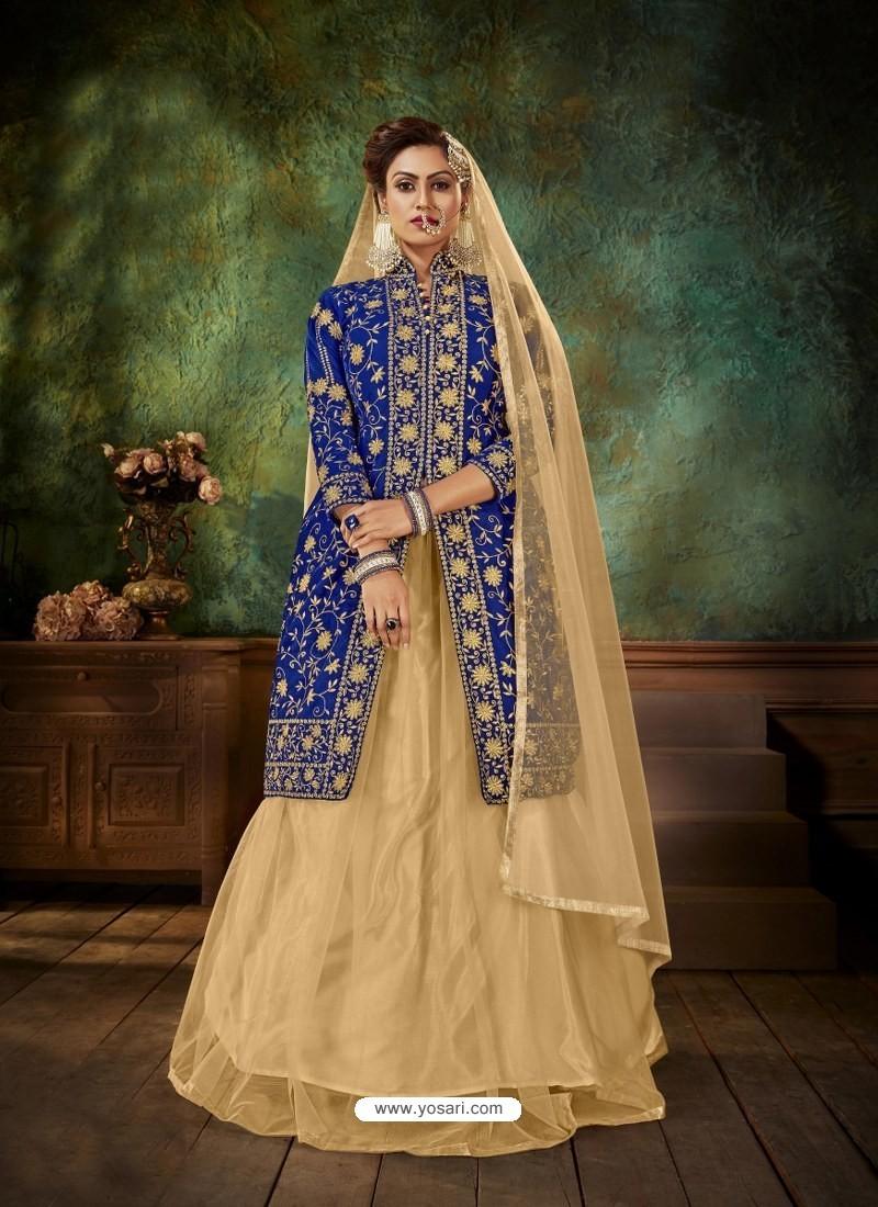 Royal Blue Heavy Embroidered Designer Falcan Velvet Suit