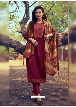 Maroon Heavy Embroidered Designer Mini Silk Salwar Suit