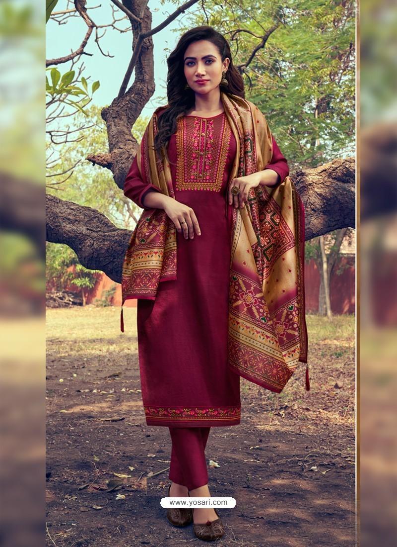 Maroon Heavy Embroidered Designer Mini Silk Salwar Suit