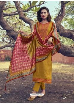 Mustard Heavy Embroidered Designer Mini Silk Salwar Suit