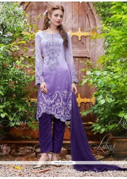 Regal Resham Work Georgette Purple Designer Salwar Kameez