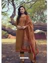 Copper Heavy Embroidered Designer Mini Silk Salwar Suit