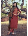 Light Red Heavy Embroidered Designer Mini Silk Salwar Suit