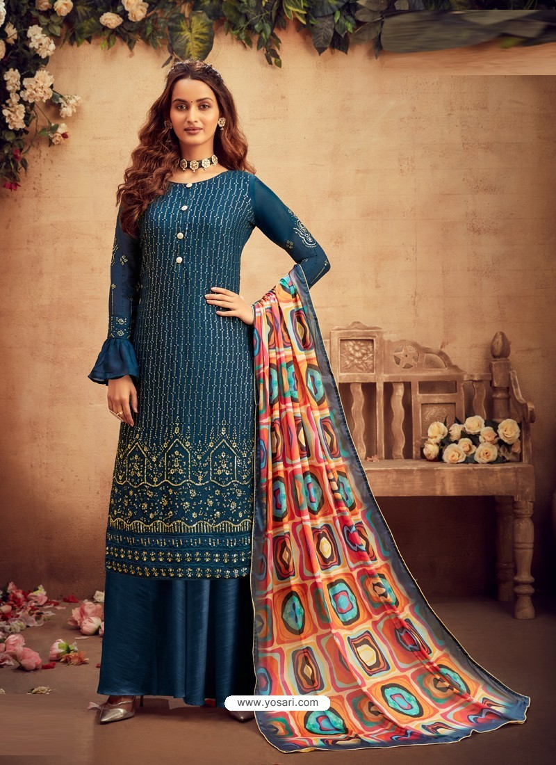 Teal Blue Designer Pure Viscose Chinnon Party Wear Palazzo Suit