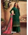 Dark Green Designer Pure Viscose Chinnon Party Wear Palazzo Suit