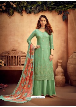 Sea Green Designer Pure Viscose Chinnon Party Wear Palazzo Suit