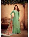 Sea Green Designer Pure Viscose Chinnon Party Wear Palazzo Suit