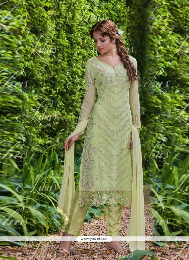 Beauteous Embroidered Work Sea Green Salwar Suit