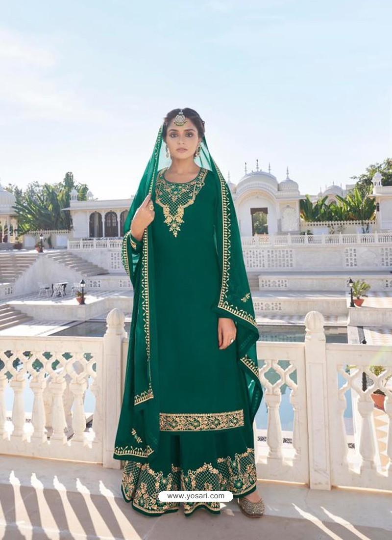 Dark Green Designer Heavy Faux Georgette Party Wear Palazzo Suit