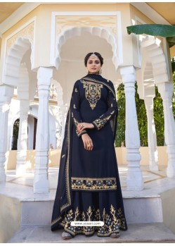 Navy Blue Designer Heavy Faux Georgette Party Wear Palazzo Suit