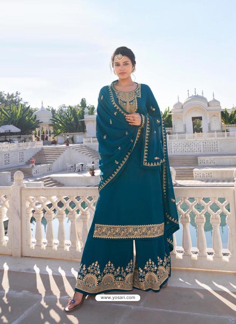 Teal Blue Designer Heavy Faux Georgette Party Wear Palazzo Suit
