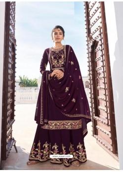 Purple Designer Heavy Faux Georgette Party Wear Palazzo Suit