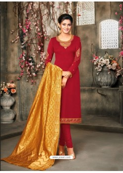 Red Designer Party Wear Satin Georgette Churidar Salwar Suit