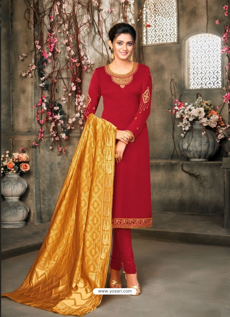 Red Designer Party Wear Satin Georgette Churidar Salwar Suit