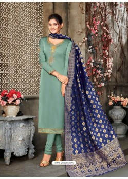 Grayish Green Designer Party Wear Satin Georgette Churidar Salwar Suit