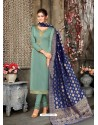 Grayish Green Designer Party Wear Satin Georgette Churidar Salwar Suit