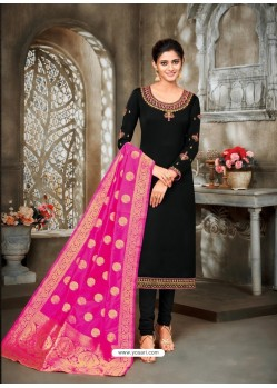 Black Designer Party Wear Satin Georgette Churidar Salwar Suit
