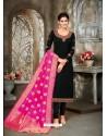 Black Designer Party Wear Satin Georgette Churidar Salwar Suit