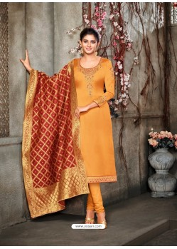 Mustard Designer Party Wear Satin Georgette Churidar Salwar Suit