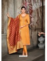 Mustard Designer Party Wear Satin Georgette Churidar Salwar Suit