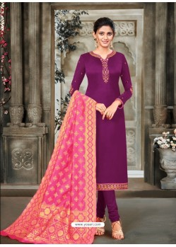 Purple Designer Party Wear Satin Georgette Churidar Salwar Suit