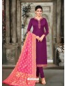 Purple Designer Party Wear Satin Georgette Churidar Salwar Suit