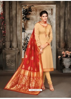 Cream Designer Party Wear Satin Georgette Churidar Salwar Suit