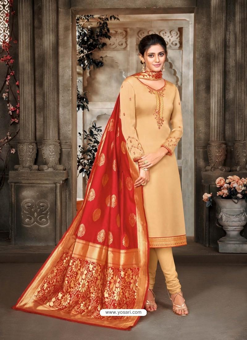 Cream Designer Party Wear Satin Georgette Churidar Salwar Suit
