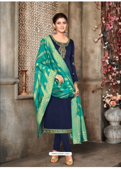 Navy Blue Designer Party Wear Satin Georgette Churidar Salwar Suit