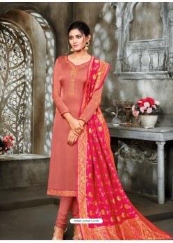 Light Red Designer Party Wear Satin Georgette Churidar Salwar Suit