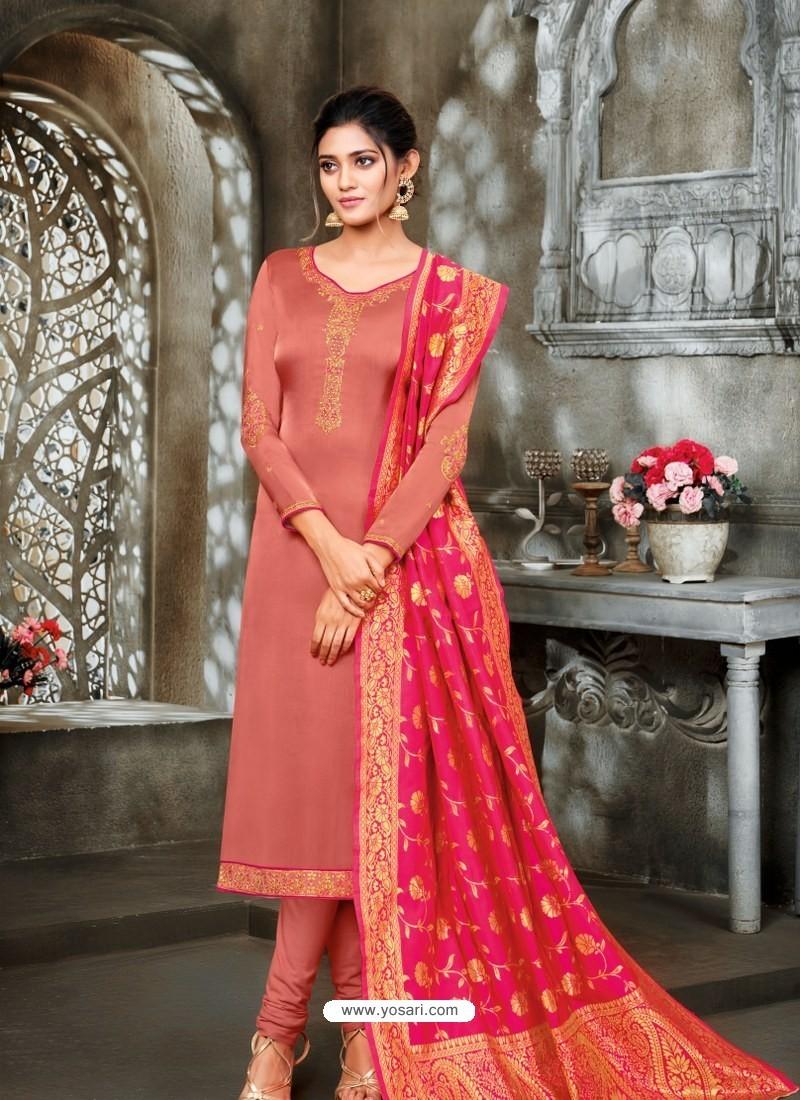 Light Red Designer Party Wear Satin Georgette Churidar Salwar Suit