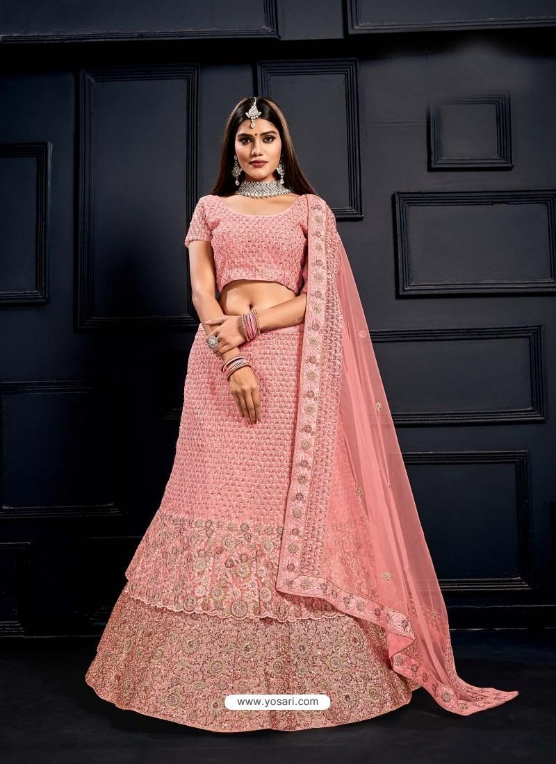 Baby Pink Elegant Heavy Embroidered Designer Bridal Lehenga Choli