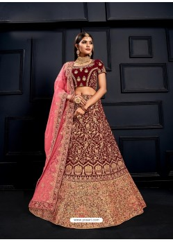 Maroon Elegant Heavy Embroidered Designer Bridal Lehenga Choli