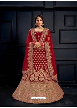Crimson Elegant Heavy Embroidered Designer Bridal Lehenga Choli