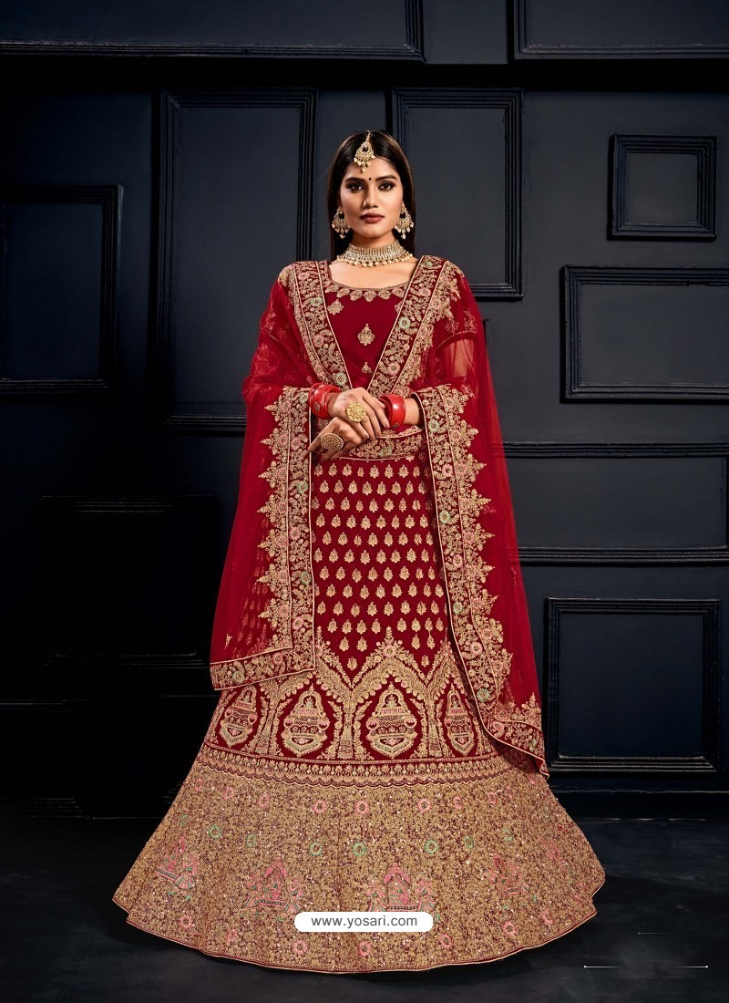 Crimson Elegant Heavy Embroidered Designer Bridal Lehenga Choli