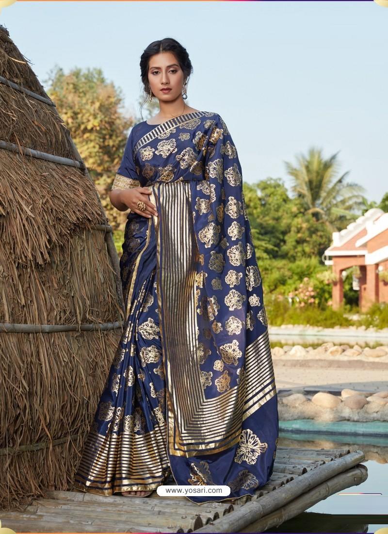 Dark Blue Latest Designer Party Wear Silk Sari