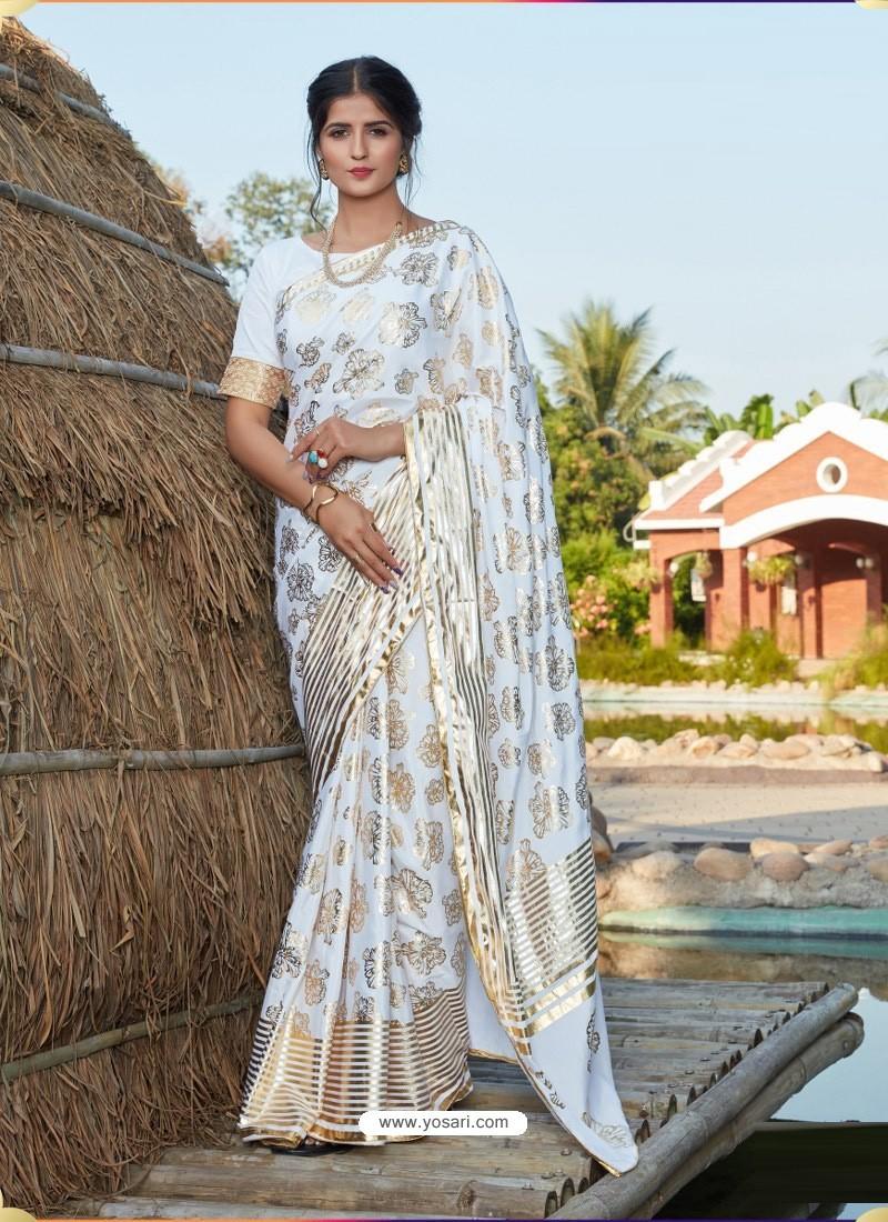 Off White Latest Designer Party Wear Silk Sari
