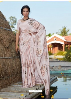 Baby Pink Latest Designer Party Wear Silk Sari