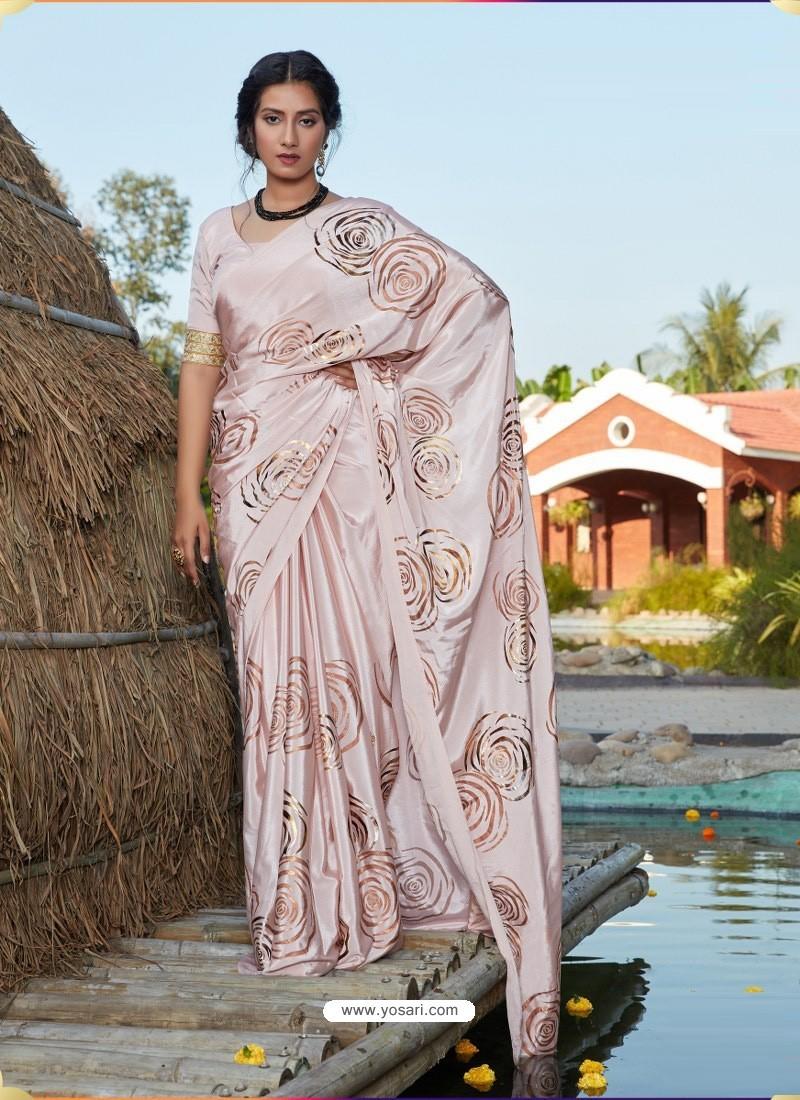 Baby Pink Latest Designer Party Wear Silk Sari