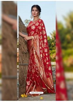 Red Latest Designer Party Wear Silk Sari
