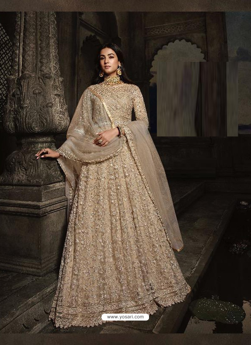 Gold Heavy Embroidered Designer Net Anarkali Suit