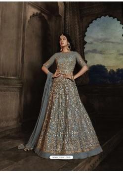 Grey Heavy Embroidered Designer Net Anarkali Suit