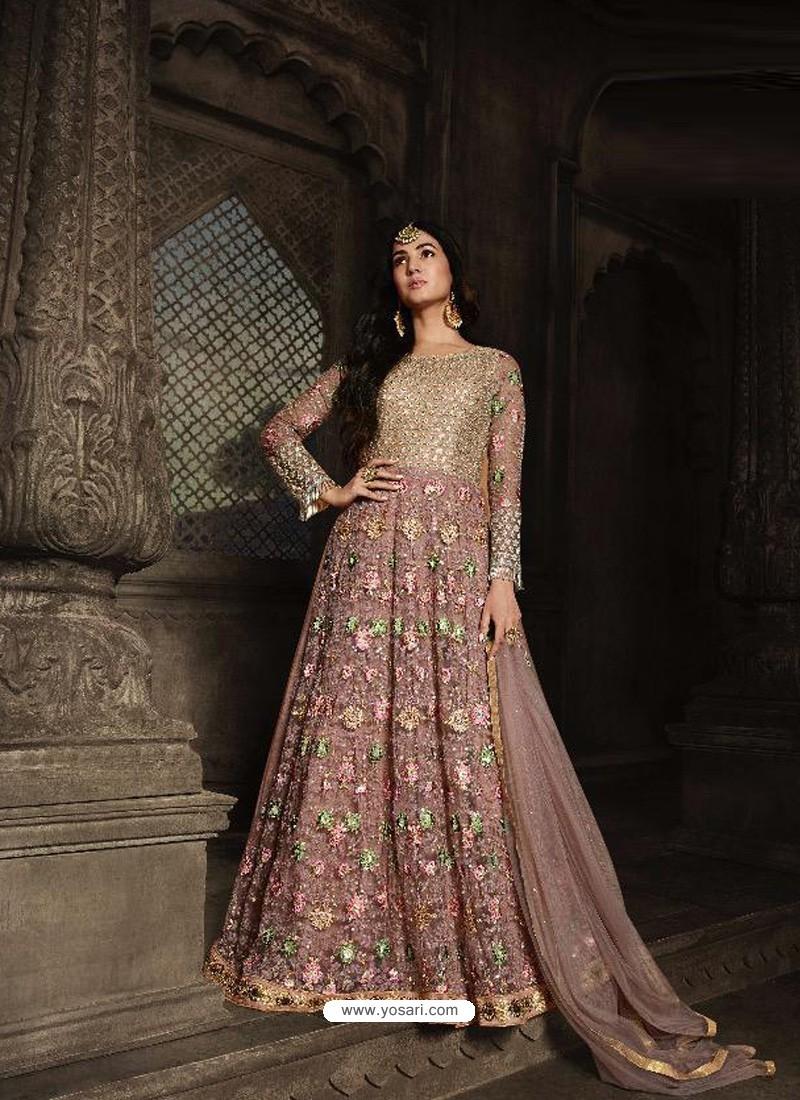Old Rose Heavy Embroidered Designer Net Anarkali Suit
