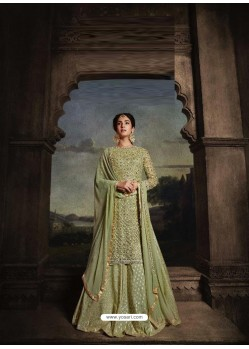 Green Heavy Embroidered Designer Net Anarkali Suit