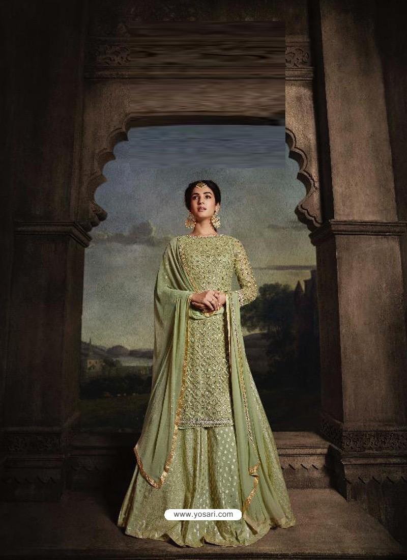 Green Heavy Embroidered Designer Net Anarkali Suit