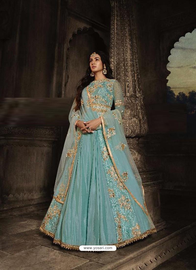 Sky Blue Heavy Embroidered Designer Net Anarkali Suit