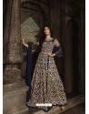 Navy Blue Heavy Embroidered Designer Net Anarkali Suit