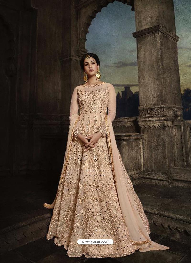 Light Beige Heavy Embroidered Designer Net Anarkali Suit